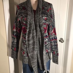 Roxy Aztec red and grey thick cardigan